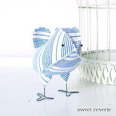 Dorian - Vintage Nautical Blue and White Stripe Wedding Cake Topper Love Bird, Soft Sculpture Textile Home Decor, Baby Boy Nursery Decor