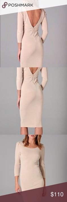 "Alice + Olivia Nude V-back dress. NWT This scoop neck dress features pleats at the shoulders, exposed zip at the v-back and side. •3/4 sleeve         • fabric: crepe jersey                     • 42"" long ( measured from shoulder)                   • 95% polyester 5 % spandex                                • hand wash        • gold zipper on back and on the right side at the bottom Alice + Olivia Dresses Midi"