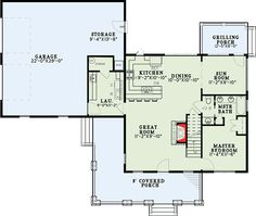 Rustic Master Down 3 Bed Retreat - 60675ND floor plan - Main Level