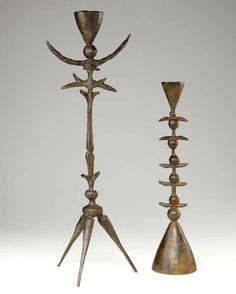 Modern primitive candle holders / early 20th c. / unknown artist