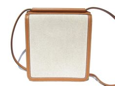 Hermes Toile and Leather Cross Body Bag Canvas RARE For Sale at 1stdibs
