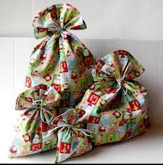 Set of FOUR Fabric Christmas Gift Bags  Reusable  by ThePurseCo