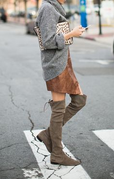 suede skirt and boots | Retire The Skinny Denim & Riding Boots...5 Fresh Fall Trends