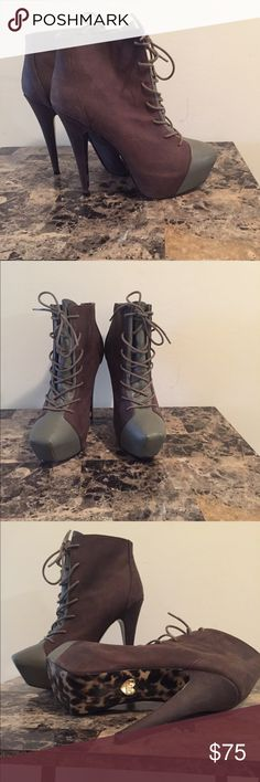 Betsy Johnson platform booties. New Betsy Johnson platform booties. Leather  gray 5 inch boots. Super cute and never before worn!!! Betsey Johnson Shoes Ankle Boots & Booties