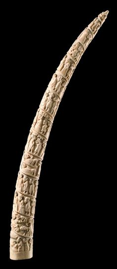 Africa | Figurally carved tusk from the Loango people of DR Congo | Ivory | From an old Colonial collection