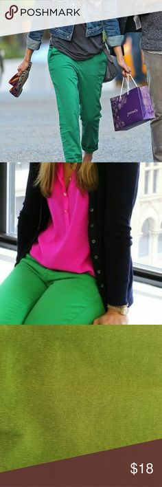 ❤Classy Fall Look❤ Gorgeous statement-making green corduroy pants for your wardrobe!! First two pics are style suggestions. These pants have been hemmed. The picture with lace shows the inside hem. Perfect with a sequin top and platform pumps for Christmas! Or re-purpose them for the ideal shorts for early spring! Lilly Pulitzer Pants