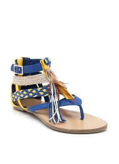 feather accent sandals