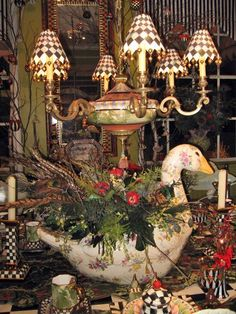 beautiful arrangement and pieces by Mackenzie-Childs. I just love getting my Mackenzie-Childs catalogs! All Things Christmas, Christmas Holidays, Christmas Crafts, Happy Holidays, Christmas Ideas, Christmas Tablescapes, Christmas Decorations, Table Decorations, Centerpieces