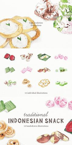 Traditional Indonesian Snack - a series of detailed hand-drawn watercolour illustrations of Indonesian snack delicacy. Gado Gado, Food Sketch, Food Cartoon, Watercolor Food, Food Painting, Character Wallpaper, Food Backgrounds, Postcard Design, Food Drawing