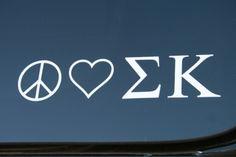 PEACE LOVE SIGMA KAPPA sticker decals $4.00 +Free Shipping at the checkout page #sigmakappa #sigkaps #sorority #greekgifts