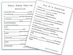 Kids confused by their/there/they're? These free #grammar printables can help them practice and review at home.
