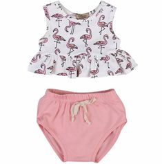 Flamingo two piece set for baby girls/Ruffle top and bloomers