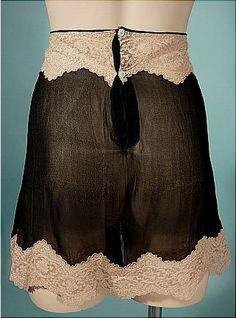c. 1920's Fanny Hyman's Sheer Black Chiffon and Ecru Lace Tap Pants