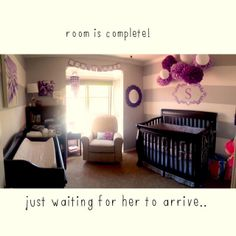 Purple and gray nursery for our baby girl