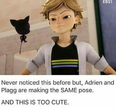 Miraculous Ladybug & Chat Noir - Adrien and Plagg same pose