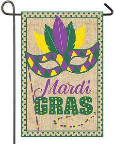 "13/"" x 18/"" BEAUTIFUL DOUBLE-SIDED /""MARDI GRAS CELEBRATION/"" SATIN GARDEN FLAG"