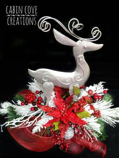Items similar to Christmas Floral Arrangement Reindeer Holiday Centerpiece COLOR CHOICES White Silver Red Blue Lime Custom Designs by Cabin Cove Creations on Etsy