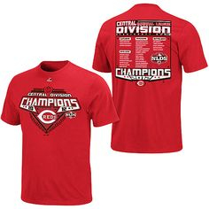 Brag to all of your friends about your team, the 2012 NL Central winning Reds with a Cincinnati Reds 2012 NL Central Division Champions Roster T-Shirt. $16.97