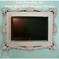 10 diy upcycling home decor projects that inspired me this week, design d cor, diy home crafts, repurposing upcycling, 9 Just a little creativity Blew me away with this amazing frame surrounding their wall mounted TV Makes it look like art I love how finished this piece looks