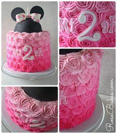 Pink Ombre Minnie Mouse Cake for Brynna's Birthday! Torta Minnie Mouse, Minnie Mouse Rosa, Bolo Minnie, Minnie Mouse Theme, Minnie Mouse Cake, Pink Minnie, Mickey Mouse, 1st Birthday Cakes, Minnie Birthday