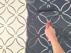 Painting a wallpaper look using the Fuji Allover Stencil. http://www.cuttingedgestencils.com/stencil-wall-stencils-fuji.html