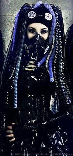 Black and purple crinoline dread falls, gas mask and goggles. PVC corset and skirt. Gothic Steampunk, Steampunk Fashion, Gothic Fashion, Steampunk Clothing, Victorian Gothic, Gothic Lolita, Emo Fashion, Fashion Brands, Moda Medieval