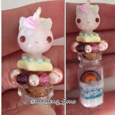 A tiny unicorn charm... I used the glass bottle @polymomotea Alex sent me ❤️. #polymerclay #clay #charm #charms #fimo #unicorn #rainbow #mithology #unicorno #horse #magic #superkawaii #kawaii #superkawaii #supercute #cute #bottle #star #glam #fairy