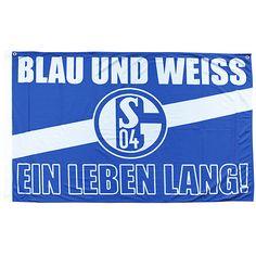 FC Schalke 04 Fahne Blau und Weiss - Ein Leben lang! Die FC Schalke 04 Fahne für den Fussball Fan aus dem FC Schalke 04 Shop, dem Fussball Fanshop 24. http://www.fussball-fanshop-24.de