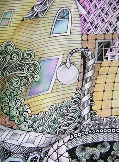 Enthusiastic Artist: Ten tangled houses ~ love these zentangles!
