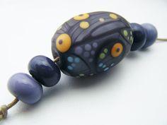 Moogin Beads- Purple oval focal bead set , lampwork / glass   - SRA by mooginmindy on Etsy