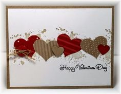 The card - time for a little Valentine's stuff. This is a super easy one - I stamped some spoltches (from SU) in the background and then added some punched out hearts in two different sizes. Easy! T