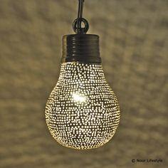 Egyptische lampen Halima, hanglamp peer met gaatjes