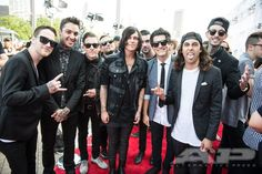 Sleeping With Sirens and Pierce the Veil make for one star studded photo from 2014′s #APMAS. Looking for more hot shots from our Red Carpet?