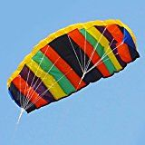 Besra Large Rainbow Dual Line Parachute Stunt Kite with Flying Tools Colorful Power Parafoil kites Outdoor Fun Sports for Beach & Park 55inch