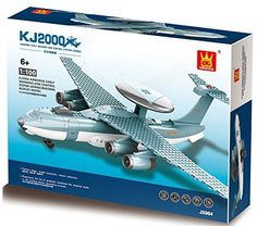 KJ2000 AirBorne Early Warning and Control system - 202 pcs building blocks radar plane assembly, scaled down to 1:100 ratio of actual AEWandC - a model of choice for a 6  aviator in Lego compatible parts >>> Click image to review more details.