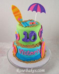 Flip Flops Beach Surfboard Theme Cake
