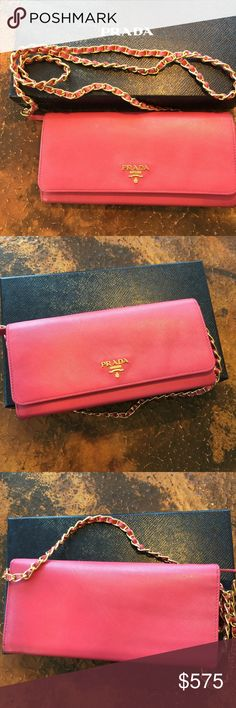 Beautiful authentic Prada Saffiano chain wallet Beautiful wallet Peonia is the color. Excellent condition. I just had the leather in the chain replacement as it was coming undone. No cracks or stains. Comes with authentication card and Prada box. 8.5 x 4 x 1 Prada Bags Wallets