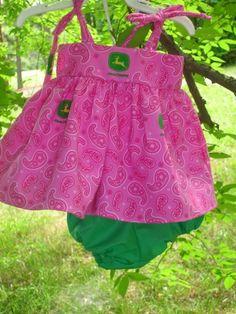 Infant/Newborn size John Deere Pink Sun Dress with Bloomers