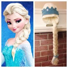 Hand-Knitted Frozen Coronation Crochet Hat With Braid Inspired by Elsa - Crown Hat, Elsa Costume - LoveItSoMuch.com