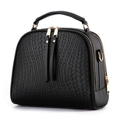 Women Box Woven Bag PU Leather Handbag Ladies Shoulder Bag