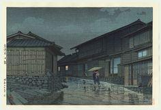 Night Rain at Nissaka, 1942 by Kawase Hasui (1883 - 1957)