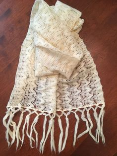 Hand Knitted Vintage Lace  Christening Baby Shawl Ivory Cream  #Handmade