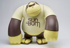 Bigshot Toyworks has brought Sun Bum's ape face logo to life in the form of 16″ tall vinyl figures