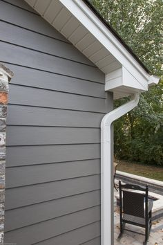 Timeless beauty achieved with Aged Pewter James Hardie Siding - Opal Enterprises Exterior Home Renovation Clapboard Siding, House Siding, Hardie Board Siding, Cement Board Siding, Vinyl Siding, Siding Colors, Exterior Paint Colors For House, Renovation Facade, Cottage Exterior