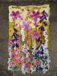 Wet felted wall hanging.MarmaladeRose