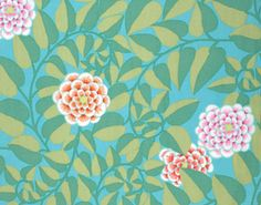 VINE in DUCKEGG Red, pink Orange flowers 1/2 Yard Kaffe Fassett Fabric / Cotton, Quilt Craft and Apparel fabric