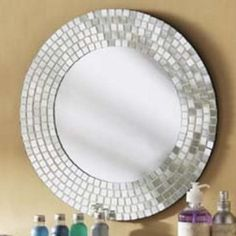 oval wall mirror in white and gold mosaic | white mosaic tiles