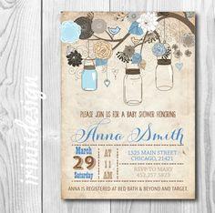 Boy Blue Mason Jar Baby Shower invitation  by irinisdesign on Etsy