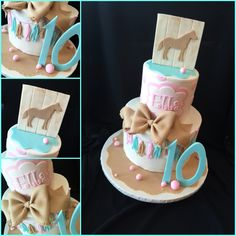 Brown pink and blue horse birthday cake