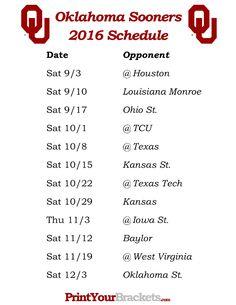 Printable Oklahoma Sooners Football Schedule 2016